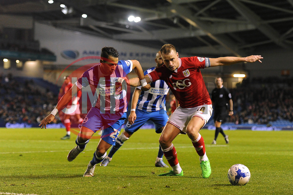 Aaron Wilbraham of Bristol City controls the ball under pressure from Liam Rosenior of Brighton & Hove Albion - Mandatory byline: Dougie Allward/JMP - 07966 386802 - 20/10/2015 - FOOTBALL - American Express Community Stadium - Brighton, England - Brighton v Bristol City - Sky Bet Championship