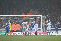 PETERBOROUGH, ENGLAND - Saturday, February 19, 2011: Tranmere Rovers' Enoch Showunmi (Far Right Top) looks dejected after his own goal gives Peterborough United a 2-1 lead during the Football League One match at London Road. (Photo by Gareth Davies/Propaganda)