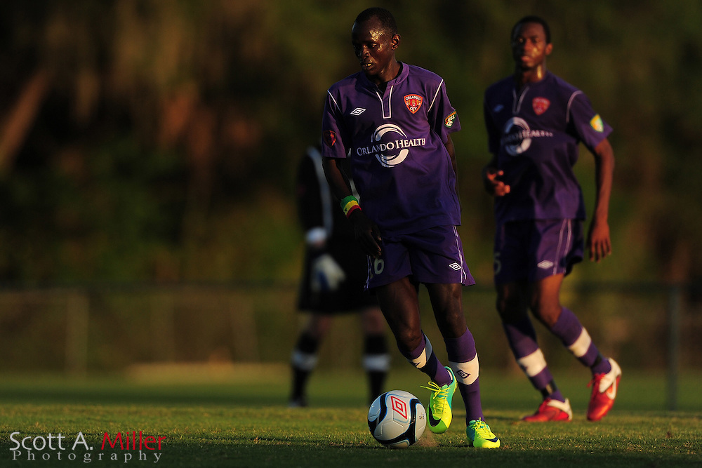 Orlando City's Adama Mbengue (16) in action during the Lions against the Panama City Beach Pirates Premier Development League game at the Seminole Soccer Complex on May 19, 2012 in Sanford, Fla. ..©2012 Scott A. Miller.