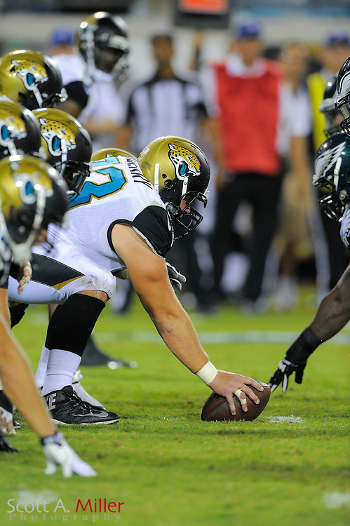 Jacksonville Jaguars offensive line at line of scrimmage during a preseason NFL game against the Philadelphia Eagles at EverBank Field on Aug. 24, 2013 in Jacksonville, Florida. The Eagles won 31-24.<br /> <br /> &copy;2013 Scott A. Miller
