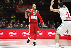 November 17, 2017 - Milan, Milan, Italy - Curtis Jerrells (#55 AX Armani Exchange Milan) drives to the basket during a game of Turkish Airlines EuroLeague basketball between  AX Armani Exchange Milan vs Brose Bamberg at Mediolanum Forum, on November 17, 2017 in Milan, Italy. (Credit Image: © Roberto Finizio/NurPhoto via ZUMA Press)