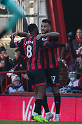 Joshua King (Bournemouth) celebrates his goal with Jefferson Lerma (Bournemouth) in the 45th minute during the Premier League match between Bournemouth and Arsenal at the Vitality Stadium, Bournemouth, England on 25 November 2018.
