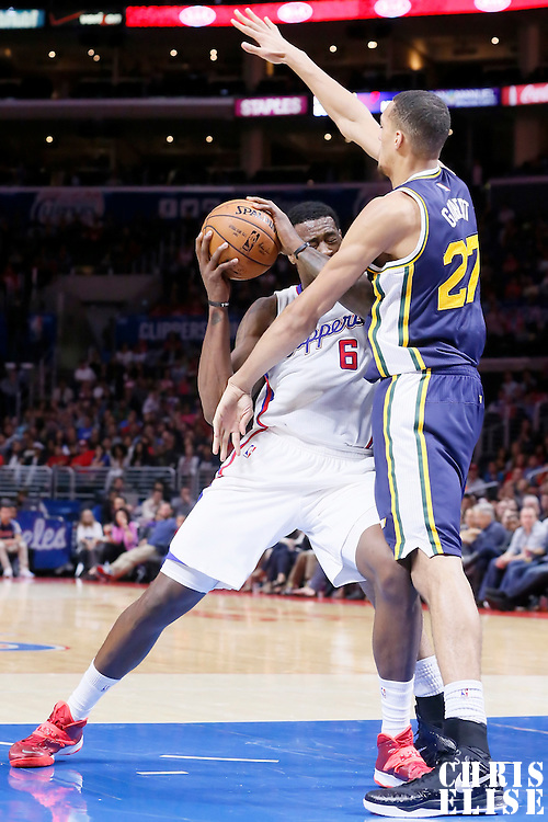 17 October 2014: Utah Jazz center Rudy Gobert (27) defends on Los Angeles Clippers center DeAndre Jordan (6) during the Los Angeles Clippers 101-97 victory over the Utah Jazz, in a preseason game, at the Staples Center, Los Angeles, California, USA.