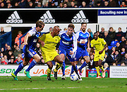 Burton's Chris O'Grady (8) beats Ipswich defenders during the EFL Sky Bet Championship match between Ipswich Town and Burton Albion at Portman Road, Ipswich, England on 18 October 2016. Photo by Richard Holmes.