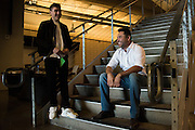 Oscar De La Hoya visits with his son, Devon, while waiting for their car after the weigh-ins at AT&T Stadium in Arlington, Texas on September 16, 2016.  (Cooper Neill for ESPN)