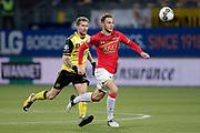 (L-R) Simon Gustafson of Roda JC, Teun Koopmeiners of AZ Alkmaar
