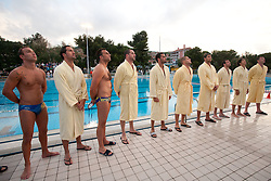 Andraz Verac and other players of Rokava Koper prior to the water polo match between ASD Vaterpolo Rokava Koper and AVK Triglav Kranj in 3rd Round of Final of Slovenian Water polo National Championship, on June 8, 2011 in Zusterna pool, Koper, Slovenia. Rokava Koper defeated Triglav Kranj 12-6 and became Slovenian Champion 2011. (Photo By Vid Ponikvar / Sportida.com)