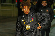 Sacha Boey (31) of Rennes arrives at Celtic Park ahead of  the Europa League match between Celtic and Rennes at Celtic Park, Glasgow, Scotland on 28 November 2019.