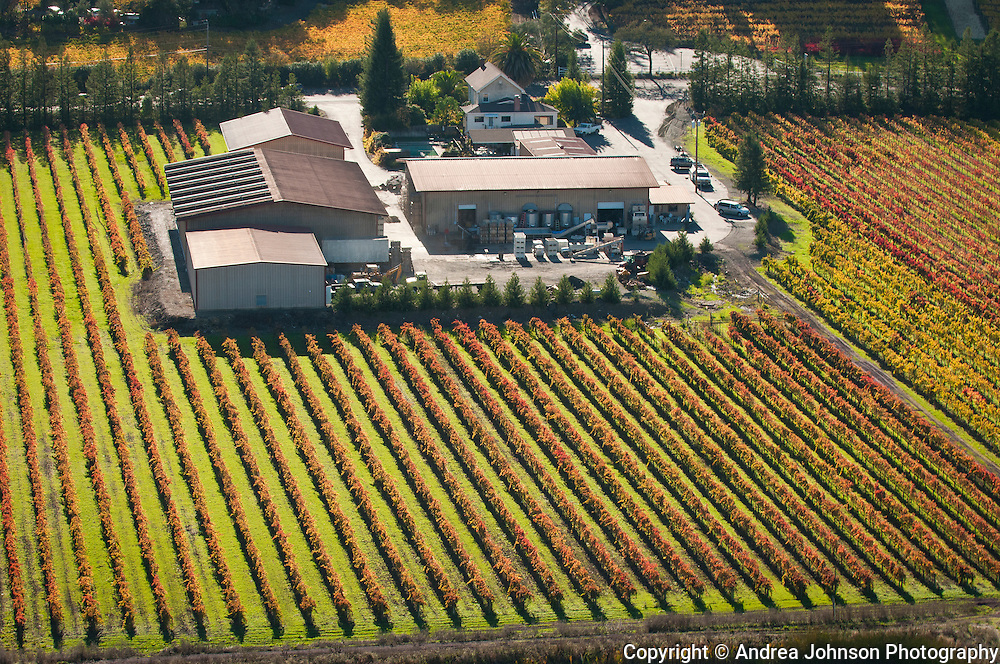 Aerial view of Revana winery & vineyards, Napa, California