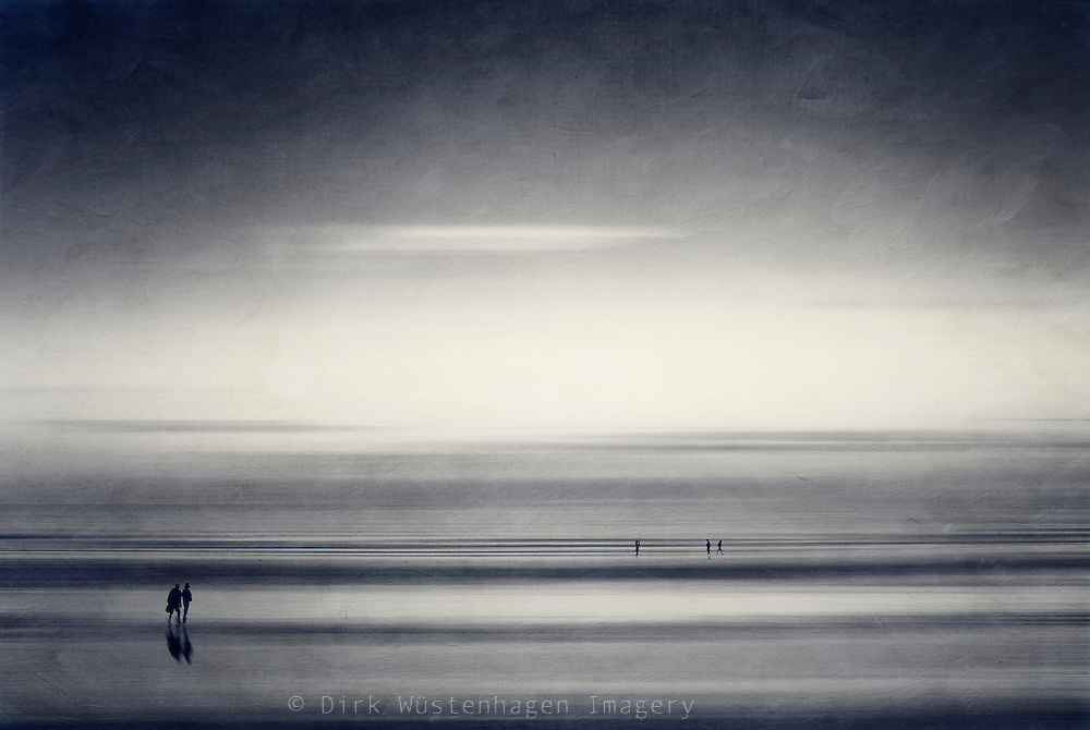 Abstraction of people taking a walk on the beach. Manipulated photography.<br />