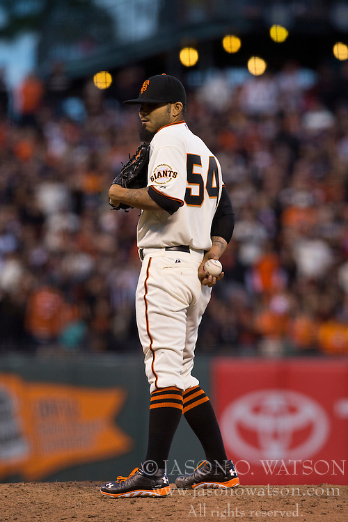 SAN FRANCISCO, CA - MAY 05: Sergio Romo #54 of the San Francisco Giants stands on the pitchers mound against the Los Angeles Dodgers during the ninth inning at AT&T Park on May 5, 2013 in San Francisco, California. The San Francisco Giants defeated the Los Angeles Dodgers 4-3. (Photo by Jason O. Watson/Getty Images) *** Local Caption *** Sergio Romo