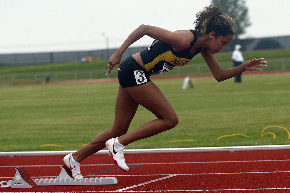 (Charlottetown, Prince Edward Island -- 20090714) Alyssa Johnson of Flying M Athletic Club competes in the 400m final at the 2009 Canadian Junior Track & Field Championships at UPEI Alumni Canada Games Place on the campus of the University of Prince Edward Island, July 17-19, 2009.  Sean Burges / Mundo Sport Images ..Mundo Sport Images has been contracted by Athletics Canada to provide images to the media.