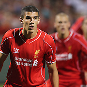 Conor Coady, Liverpool, in action during the Liverpool Vs AS Roma friendly pre season football match at Fenway Park, Boston. USA. 23rd July 2014. Photo Tim Clayton