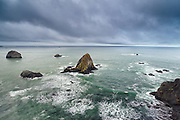 Clouds roll over the Pacific Ocean near the Russian River mouth, Sonoma Coast State Park, Jenner, California.