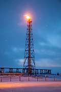 A pilot flame at the oil production facility on the artificial island Endicott outside Prudhoe Bay. Unlike a flaring tower, the pilot flame act as a security measure.