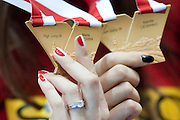 Kamila Licwinko (maiden name: Stepaniuk) of Poland holds gold medal while medal's ceremony during the IAAF Athletics World Indoor Championships 2014 at Ergo Arena Hall in Sopot, Poland.<br /> Kamila Licwinko holds Kuchina's medal and Kuchina holds Kamila's medal. It's mistake.<br /> <br /> Poland, Sopot, March 9, 2014.<br /> <br /> Picture also available in RAW (NEF) or TIFF format on special request.<br /> <br /> For editorial use only. Any commercial or promotional use requires permission.<br /> <br /> Mandatory credit:<br /> Photo by &copy; Adam Nurkiewicz / Mediasport