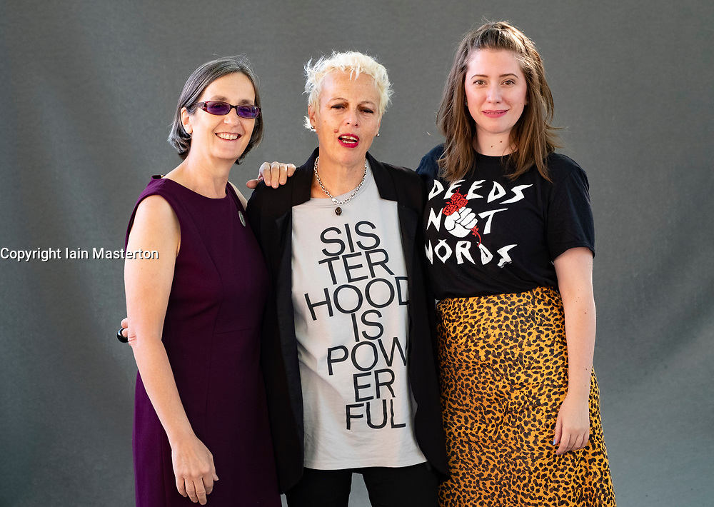 Edinburgh, Scotland, UK. 25 August, 2018. Pictured; L to R Helen Pankhurst, Adele Patrick and Fern Riddell.
