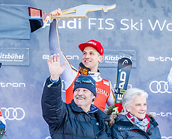 27.01.2019, Streif, Kitzbühel, AUT, FIS Weltcup Ski Alpin, SuperG, Herren, Siegerehrung, im Bild v.l. Josef Ferstl (GER), Josef Ferstl sen. Signe Reisch (Präsidentin Kitzbühel Tourismus) // f.l. Josef Ferstl of Germany Josef Ferstl sen. and Signe Reisch President Kitzbühel Tourism during the winner Ceremony for the men's Super-G of FIS Ski Alpine World Cup at the Streif in Kitzbühel, Austria on 2019/01/27. EXPA Pictures © 2019, PhotoCredit: EXPA/ Stefan Adelsberger