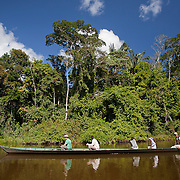 Tourists in boat on oxbow lake. Refugio Amazonas Lodge, owned and run by Rainforest Expeditions in the Tambopata National Reserve.