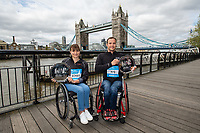 Manuela Schar SUI and Marcel Hug SUI winners of the Abbott World Marathon Majors Series XI at a photocall and press conference at the Guoman Tower Hotel for the winners of the Virgin Money London Marathon, 23 April 2018.<br /> <br /> Photo: Thomas Lovelock for Virgin Money London Marathon<br /> <br /> For further information: media@londonmarathonevents.co.uk