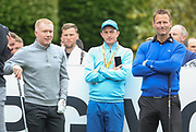 Paul Scholes   and Teddy Sheringham on the 1st hole during the Celebrity Pro-Am day at Wentworth Club, Virginia Water, United Kingdom on 23 May 2018. Picture by Phil Duncan.