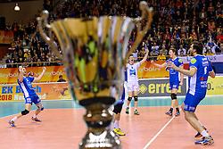 21-02-2016 NED: Bekerfinale Abiant Lycurgus - Landstede Volleybal, Almere<br /> Lycurgus viert een feestje als zij de Nationale beker winnen door Landstede Volleybal met 3-1 te verslaan