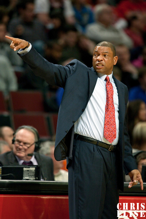 12 December 2009: Coach Doc Rivers of the Boston Celtics is seen during the Boston Celtics 106-80 win over the Chicago Bulls at the United Center, in Chicago, Illinois, USA.