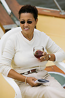 Woman Drinking Wine on Boat