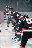 KELOWNA, CANADA, OCTOBER 1: Colton Sissons #15 of the Kelowna Rockets faces off against the Vancouver Giants on October 1, 2011 at Prospera Place in Kelowna, British Columbia, Canada (Photo by Marissa Baecker/Getty Images) *** Local Caption ***