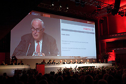 BRUSSELS, BELGIUM - AUGUST-6-2007 - .Chairman of the Fortis Board of Directors, Count Maurice Lippens, speaks during an extraordinary shareholders meeting at the Bozar Center in Brussels, Monday August 6, 2007. (Photo © Jock Fistick)