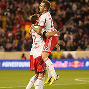 Jonny Steele, (top), New York Red Bulls, celebrates with team mate Eric Alexander after scoring during the New York Red Bulls V New England Revolution, Major League Soccer regular season match at Red Bull Arena, Harrison, New Jersey. USA. 20th April 2013. Photo Tim Clayton