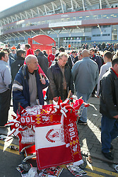 CARDIFF, WALES - Sunday, March 2, 2003: Scarves for sale before the Liverpool v Manchester United Football League Cup Final at the Millennium Stadium. (Pic by David Rawcliffe/Propaganda)