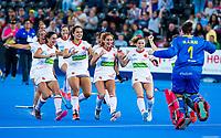 Londen - vreugde bij Spanje met  keeper Maria Ruiz (Esp)  tijdens de cross over wedstrijd Belgie-Spanje (0-0)  bij het WK Hockey 2018 in Londen . Spanje wint na shoot outs.  COPYRIGHT KOEN SUYK