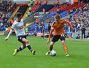 Jed Wallace controls the ball and looks to open up bolton back four during the Sky Bet Championship match between Bolton Wanderers and Wolverhampton Wanderers at the Macron Stadium, Bolton, England on 12 September 2015. Photo by Mark Pollitt.
