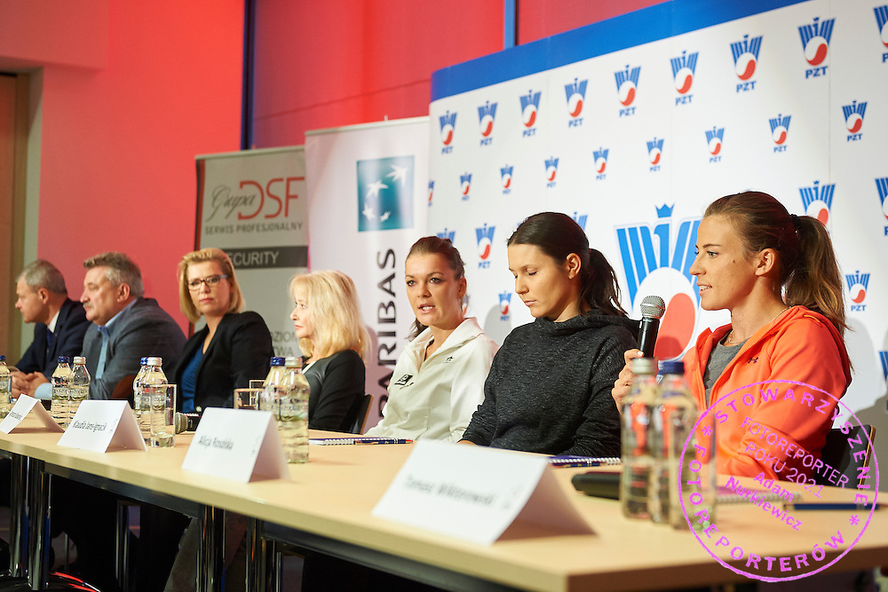 (L-R) Piotr Szkielkowski and Krzysztof Kowal Dorota Haller and Monika Malek and Agnieszka Radwanska and Klauda Jans Ignacik and Alicja Rosolska during press conference of Polish Tennis Association before Fed Cup match at National Stadium in Warsaw, Poland.<br /> <br /> Poland, Warsaw, December 15, 2014<br /> <br /> Picture also available in RAW (NEF) or TIFF format on special request.<br /> <br /> For editorial use only. Any commercial or promotional use requires permission.<br /> <br /> Mandatory credit:<br /> Photo by &copy; Adam Nurkiewicz / Mediasport