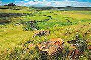 Sandstone rocks on prairie in the Killdeer Badlands. East Block.<br /> Grasslands National Park<br /> Saskatchewan<br /> Canada