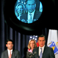(101806  Boston, MA)  Lt. Gov. Kerry Healey and Gov. Mitt Romney appear in the eyepiece of a television camera while announcing the elimination of tolls in western Massachusetts during a news conference at the Statehouse Wednesday,  October 18, 2006.  Boston Herald Staff photo by Angela Rowlings.