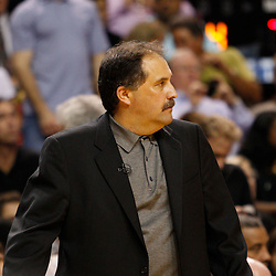 March 3, 2011; Miami, FL, USA; Orlando Magic head coach Stan Van Gundy during the fourth quarter against the Miami Heat at the American Airlines Arena. The Magic defeated the Heat 99-96.    Mandatory Credit: Derick E. Hingle