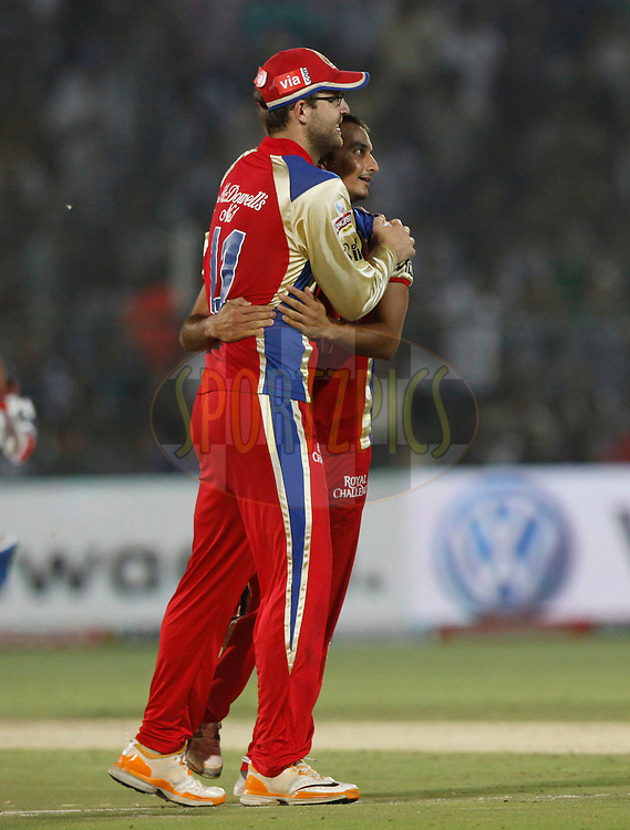 Royal Challengers Bangalore player KP Appanna celebrates the wicket of Rajasthan Royals player Brad Hodge during match 30 of the the Indian Premier League ( IPL) 2012  between The Rajasthan Royals and the Royal Challengers Bangalore held at the Sawai Mansingh Stadium in Jaipur on the 23rd April 2012..Photo by Pankaj Nangia/IPL/SPORTZPICS