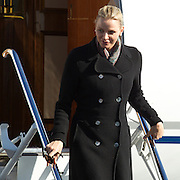Princess Charlene of Monaco visits Cape Town for a day to visit charities for which she is a co-patron with Archbishop Desmond Tutu who joined her. Image by Greg Beadle