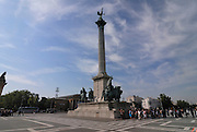 millenary  monument, heroes square, budapest, capital city of hungary by the river danube