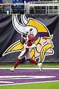 Arizona Cardinals strong safety Budda Baker (36) runs through the end zone in front of a sideline banner of the Minnesota Vikings logo as he scores a 36 yard second quarter touchdown on a sack fumble play during the NFL week 6 regular season football game against the Minnesota Vikings on Sunday, Oct. 14, 2018 in Minneapolis. The Vikings won the game 27-17. (©Paul Anthony Spinelli)