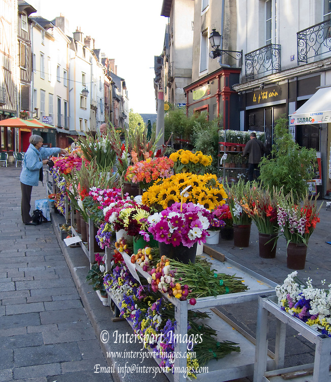 Rennes, FRANCE, Rennes, Saturday Morning Market, Flower stalls and displays, Brittany.  Saturday  26/09/2009   [Mandatory Credit Peter Spurrier Intersport Images] Street Photo.
