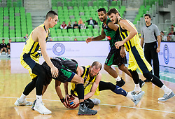 Talor Battle of Petrol Olimpija fighting for a ball with Sinan Guler of Fenerbahce during friendly basketball match between KK Petrol Olimpija and BC Fenerbahce Dogus Istanbul, at Arena Stozice, Ljubljana, Slovenia on September 25, 2017. Photo by Vid Ponikvar / Sportida