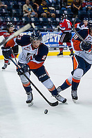 KELOWNA, CANADA - AUGUST 30: Brady Gaudet #23 of the Kamloops Blazers skates with the puck against the Kelowna Rockets  on August 30, 2014 during pre-season at Prospera Place in Kelowna, British Columbia, Canada.   (Photo by Marissa Baecker/Shoot the Breeze)  *** Local Caption *** Brady Gaudet;