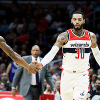 09 December 2017: Washington Wizards forward Mike Scott (30) celebrates with Washington Wizards guard Bradley Beal (3) during the LA Clippers 113-112 victory over the Washington Wizards, at the Staples Center, Los Angeles, California, USA.