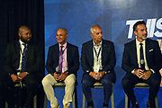 National team coaches Kyle Lightbourne (BER), Henry Duarte (NCA), Marc Collat (HAI) and Gustavo Matosas (CRC) during CONCACAF Gold Cup groups unveiling news conference, Wednesday, April 10, 2019, in Los Angeles.
