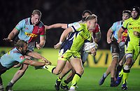 Rugby Union - 2017 / 2018 Aviva Premiership - Harlequins vs. Sale Sharks<br /> <br /> Mike Haley of Sale runs through to score his first half try at The Stoop.<br /> <br /> COLORSPORT/ANDREW COWIE