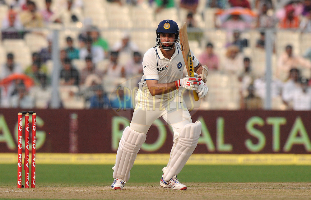 VVS Laxman of India bats during the 1st day of the 2nd test match between India and The West Indies held at  the The Eden Gardens Stadium,Kolkata on the 14th November 2011..Photo by Pal Pillai/BCCI/SPORTZPICS.