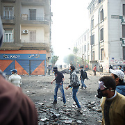 Egyptian protestors clash with the police in central Cairo.